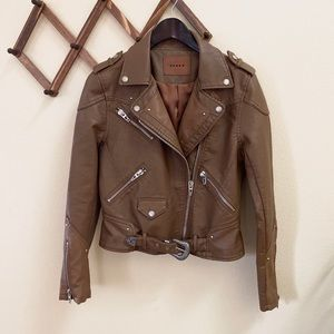 BLANK NYC Brown Faux Leather Moto Jacket